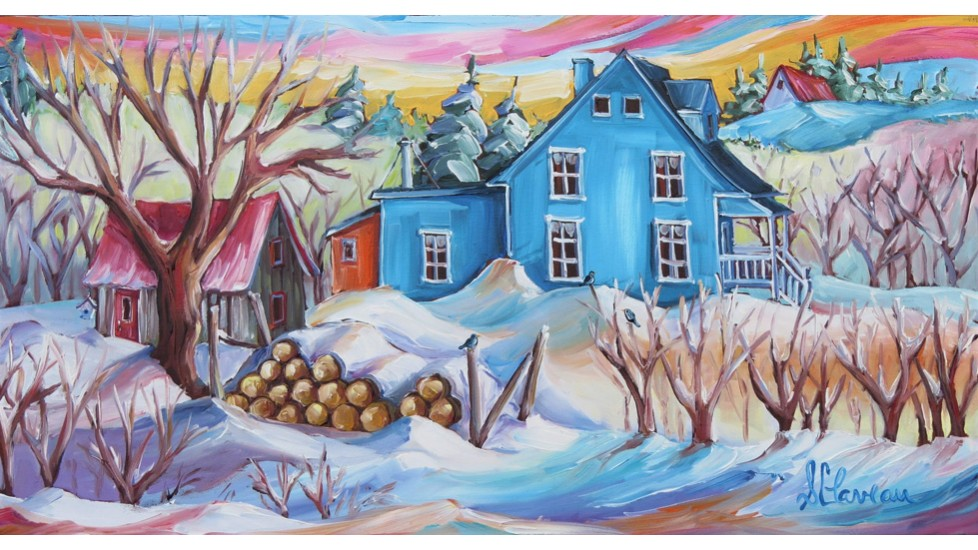 Napperons - Maison bleu en hiver
